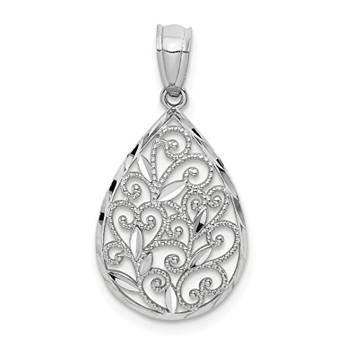 White Filigree Gold Earrings (14k White Gold Textured Small Filigree Teardrop Pendant Charm Necklace Fine Jewelry For Women Gift Set)