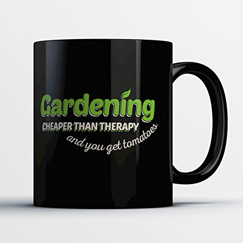 Gardening Coffee Mug - Gardening - Funny 11 oz Black Ceramic Tea Cup - Cute and Humorous Gardener and Garden Lover Gifts with Asian Sayings