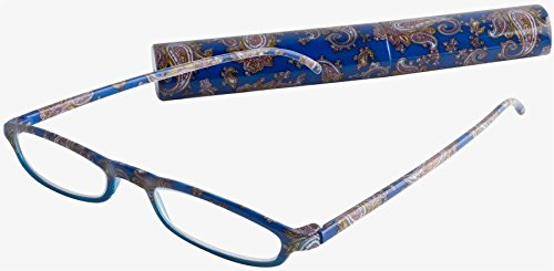 ICU Eyewear Tirana Eco Friendly Fancy Pattern Tube Reader Blue Paisley - Eyewear Eco Friendly