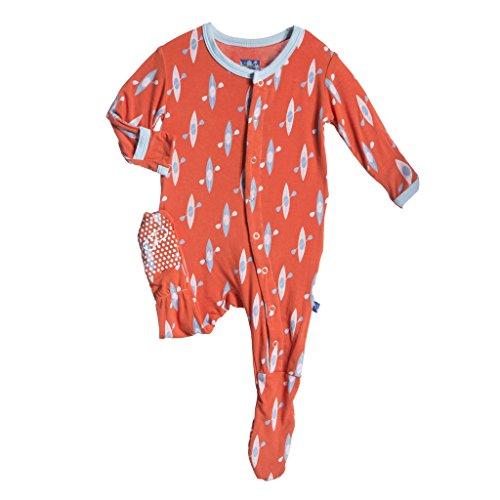 KicKee Pants Little Boys Footie Pajama- Frisbee Kayak, Newborn
