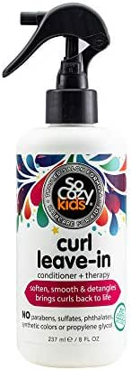 SoCozy Curl Leave-In Conditioner for Kid's Hair - Detangles & Restores Curls While Infusing Them With Moisture for Shiny, Soft Curls - Sweet Pea Scent, 8 Fluid Oz - Packaging May Vary