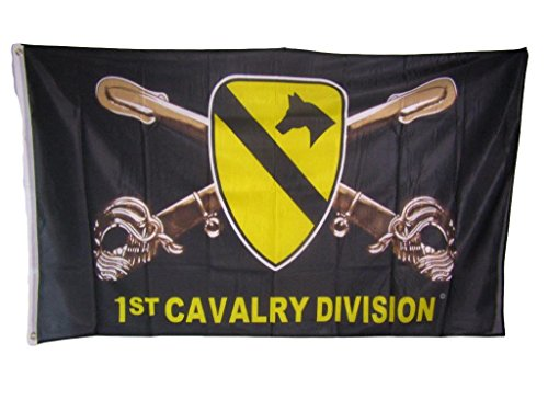(ALBATROS 3 ft x 5 ft Army First 1st Cavalry Division Black Knitted Nylon Premium Flag for Home and Parades, Official Party, All Weather Indoors Outdoors)
