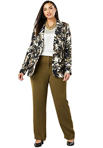 Jessica London Women's Plus Size Single Breasted Pant Suit - Olive Dusk Brushstroke Floral, 12 -