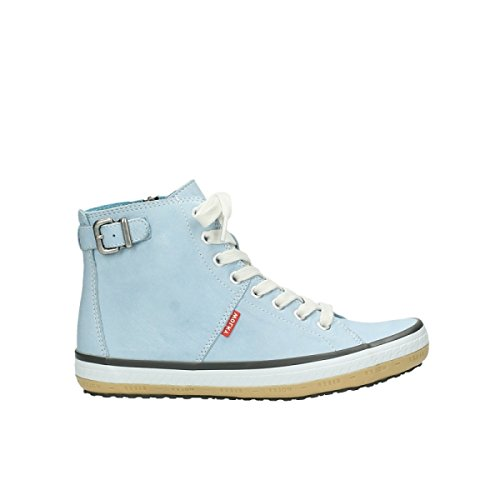 Wolky Womens 1225 Biker Leather Trainers 280 light blue leather