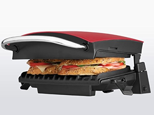 George Foreman GR236CTR G-Broil Cool-Touch Electric Nonstick Countertop Grill, Red
