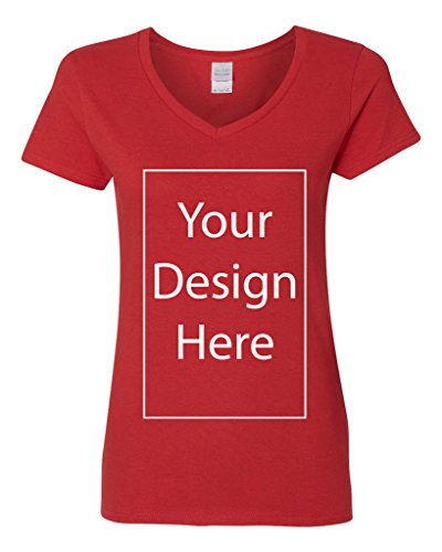 V-Neck Ladies Add Your Own Text Design Custom Personalized T-Shirt Tee (Medium, Red)