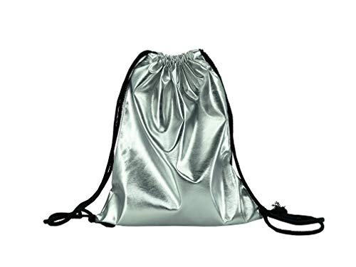 Metallic PU Leather Drawstring Backpack Tote Shoulder Bags 6 Different Colors For School Gym Travel Hiking Beach Camping (Silver)