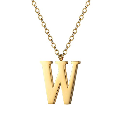 PROSTEEL Gold Initial Letter W Necklace Alphabet Name Jewelry Boy Girl Women Personalized Friend Gift 18K Plated Minimalist Letter Pendant Men's ()