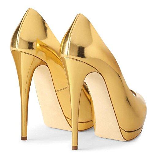 Scarpe Grande Yellow Donna Impermeabile Tacchi L In Piattaforma Pelle Peeps Bocca yc Toe Alti Specchio Pesce Brevetto OAFOwaUqx
