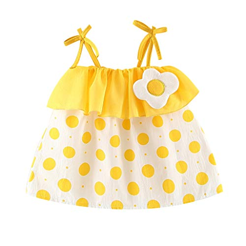 Toddler Baby Girls Summer Dress Bohean Floral Dress Fashion Clothes Sveless Halter Sundress 12M-3Y Yellow