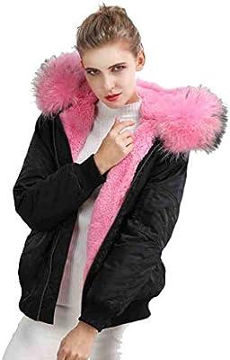 Chaquetas Mujer/Ropa de Abrigo algodón señoras Vuelo Acolchada Cuello de Piel Grande Forro de Piel Parker Abrigo Ropa de béisbol para Mujer
