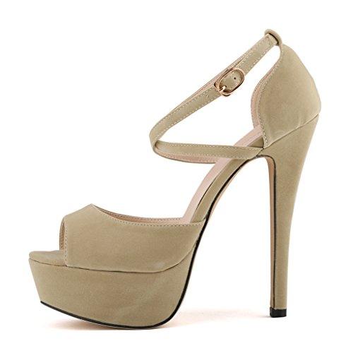 3ada676d5e8 ZriEy Women Sandals 14CM / 5.5 inches High-heeled Peep Toe Platform ...