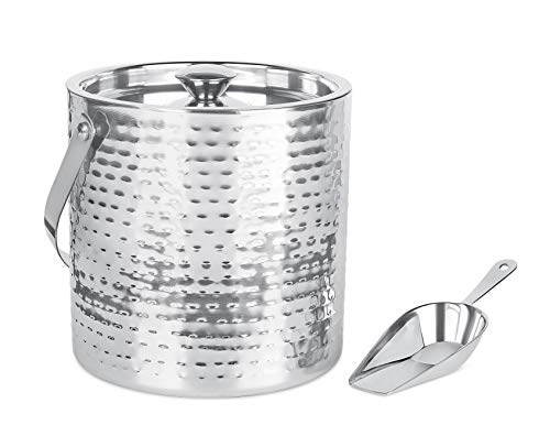 BirdRock Home Ice Bucket with Scoop & Lid – 2.8 Liter Hammered 18/8 Stainless Steel Container for Bar – Double Wall Insulated Bucket with Carrying Handle – Great for Parties – (Silver)