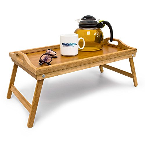 Relaxdays Bamboo Bed Tray Breakfast In Bed Folding Servin...