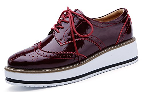 YZHYXS Womens Platform Shoes Wedge Leather Sneakers Genuine Cow Leather Brogue Formal Dress Shoes Red Size 9 (366red41) - Genuine Leather Women Sneakers
