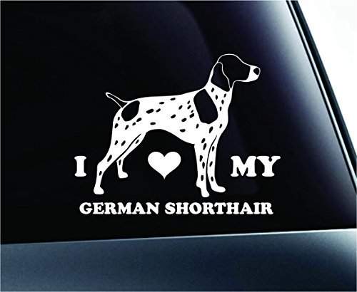 (I Love My German Shorthaired Pointer Dog Symbol Decal Paw Print Dog Puppy Pet Family Breed Love Car Truck Sticker Window (White), Decal Sticker Vinyl Car Home Truck Window Laptop)