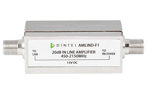 Dintel - Amplificador de línea FI 15dB-20dB | ganancia para ampliar la señal de satélite| Carcasa de fundición inyectada de zinc, níquel-plateado | Fuente ...