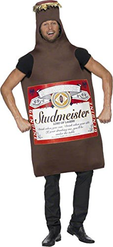 Smiffy's Men's Studmeister Beer Bottle Costume, The Lord of Lagers, Funny Side, Serious Fun, One Size, (Funny Male Halloween Costumes Uk)