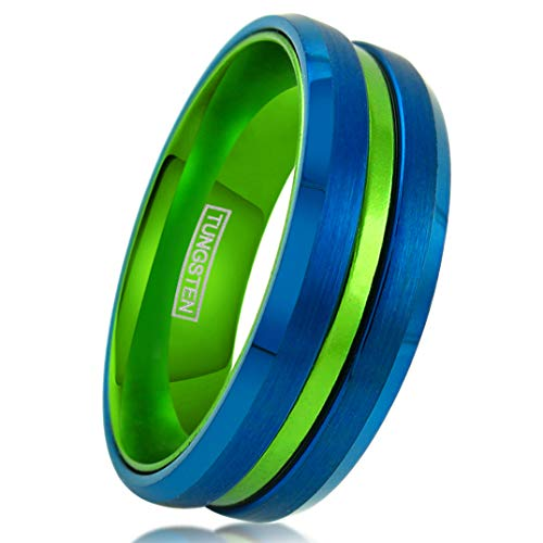 (King's Cross Personalized Engraved 6mm/8mm Royal Blue Brushed Satin Finish Tungsten Carbide Band Ring with Lime Green Recessed Stripe & Anodized Aluminum Comfort Fit Inner Band. (Tungsten (8mm), 8))