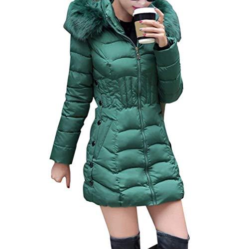 Tasche Lunghe A Calda Vestiti Laterali In Sintetica Cappotti Cappuccio Sportiva Colletto Piumino Slim Saoye Maniche Fashion Verde Con Fit Casual Donna Inverno Tuta Pelliccia Cerniera na17qnpCwU