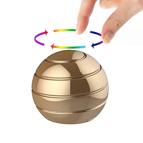 Manzelun Kinetic Desk Toys,Full Body Optical Illusion Fidget Spinner Ball,Gifts for Men,Women,Kids (Small, Gold)