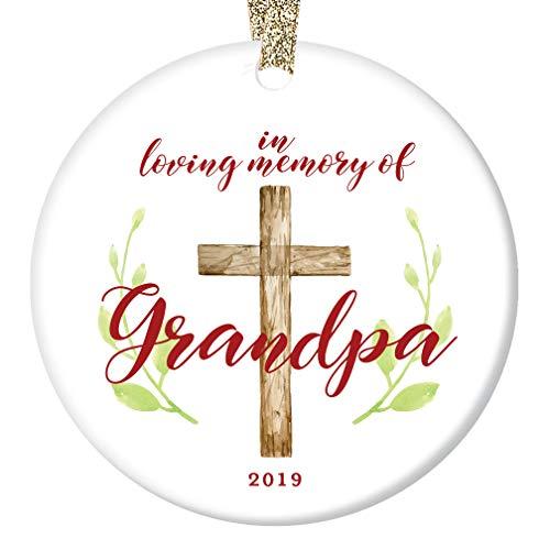"Loving Memory Grandpa Tree Ornament 2019 Christmas Present Remember Honor Grandfather Grandpop Pop-Pop Ceramic Collectible Memento 3"" Flat Porcelain Memorial Keepsake with Gold Ribbon & Free Gift Box"