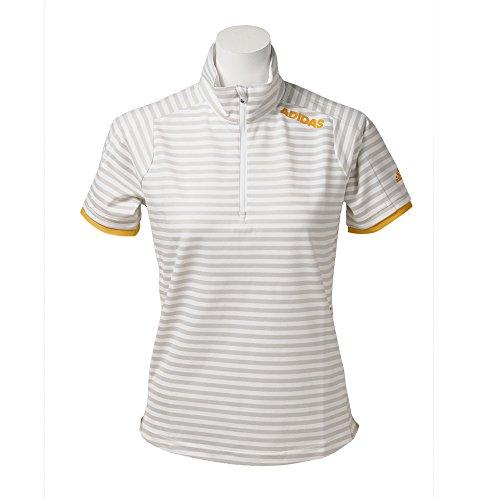 アディダス Adidas 半袖シャツ?ポロシャツ ストレッチ CP ストライプ 半袖ジップモック美シャツ レディス