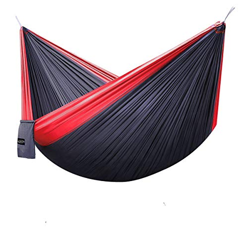 G4Free Double Camping Hammock - Portable High Strength Hammock - Lightweight Blend Color Nylon Fabric Parachute for Outdoor. Hammock Straps & Steel Carabiners Include(Red/Charcoal Grey)