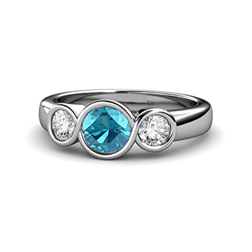 London Blue Topaz and Diamond (SI2, G) Infinity Three Stone Ring 1.95 ct tw in 14K White Gold