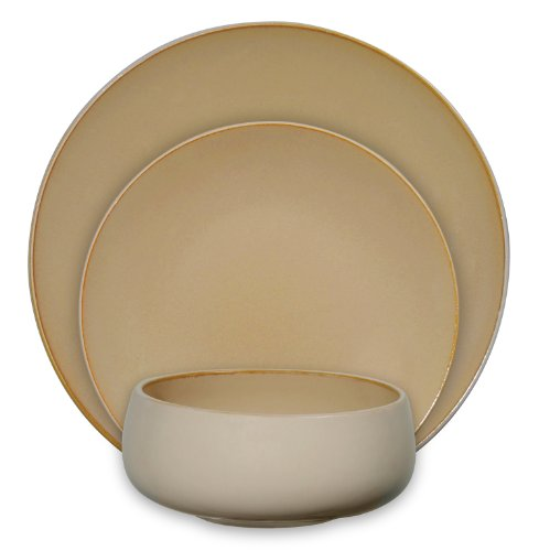 Amazon.com | Gibson Urban Bistro 12-Piece Reactive Tutone Stoneware Dinnerware Set Amber/Cream Dinnerware Sets  sc 1 st  Amazon.com & Amazon.com | Gibson Urban Bistro 12-Piece Reactive Tutone Stoneware ...