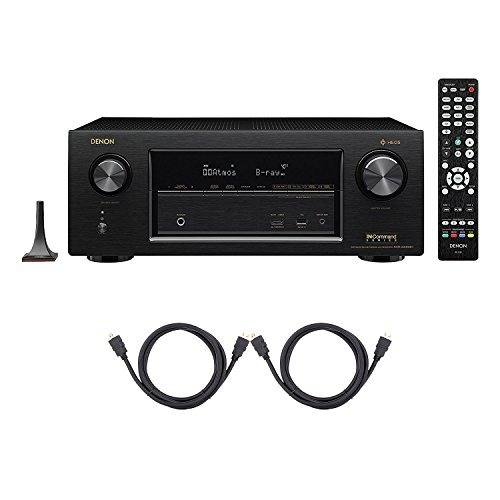 Denon AVR-X3400H 7.2CH 4K Ultra HD AV Receiver with Built-in HEOS Wireless Multi-Room Audio Technology and Alexa Voice Control Included 8 HDMI Cables