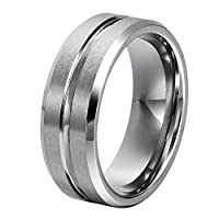 L-Ring 8MM Men's Tungsten Carbide Wedding Ring Brushed Matte Grooved Center and Polished Edges, Size 7-14