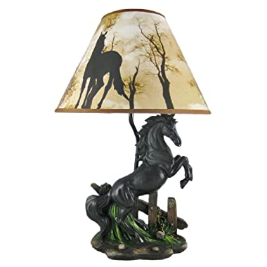 Black Stallion Horse Table Lamp W/ Nature Print Shade