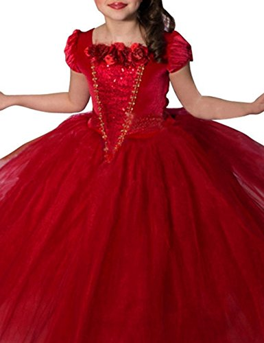NNJXD Girl Multilayer Tutu Lace Party Two-Piece Dress Size 4-5 Years Red