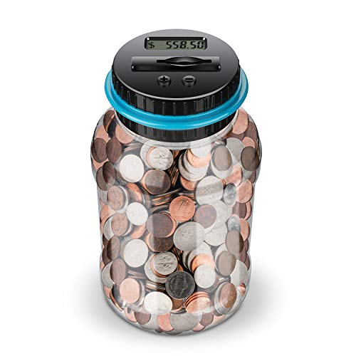 Lefree Digital Counting Money Jar,Big Piggy Bank,Piggy Bank for Kids,Piggy Bank Digital Counting Coin Bank,Money Saving…