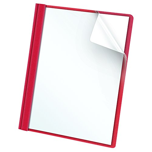 Recycled View Binder Letter (Oxford Clear Front Report Covers, Letter Size, Red, 25 per Box (55811EE))