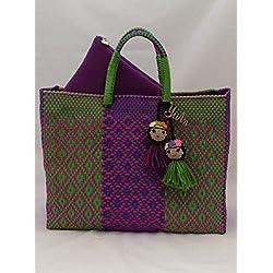 Bolsa Artesanal Mexicana tejida a mano incluye funda para iPad, en colores verde y morado, adorno de frida kahlo