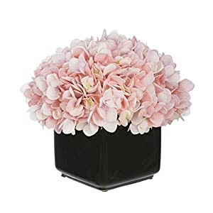 House of Silk Flowers Artificial Hydrangea in Small Black Cube Ceramic 24