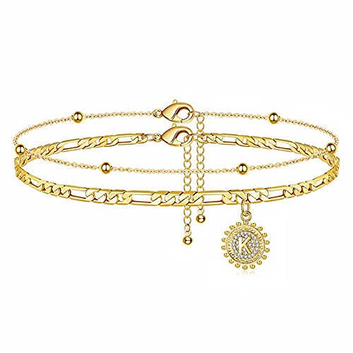 UHIBROSInitial Ankle Bracelets for Women Teen Girls, 14K Gold Plated Double Layered Initial Anklet Bracelet, Alphabet Letter Coin Pendant Jewelry for Beach, Party, Holiday-K