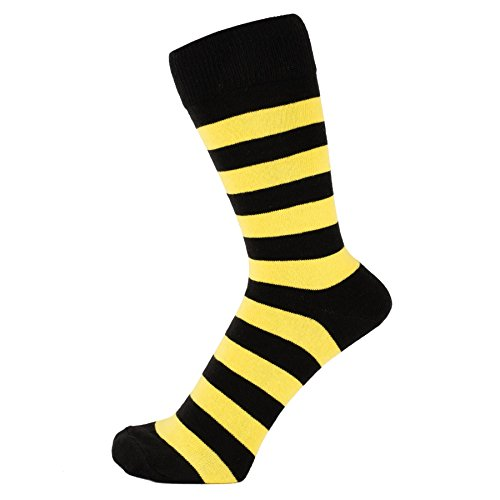 ZAKIRA Finest Combed Cotton Striped Dress Socks for Men, Women (Yellow/Black, US 7-12)