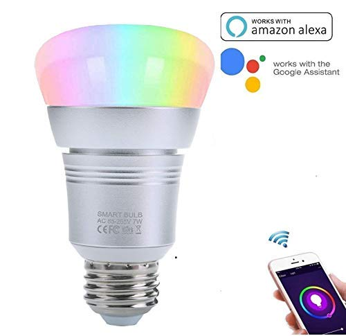 TryLight 7W Smart WiFi Light Bulbs E26 Base LED Bulbs Compatible with Alexa and Google Home, Timer Function and No Hub Required (RGB Color)