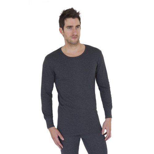 Mens Heat Holders Extra Warm 0.45 Tog Thermal Underwear Long Sleeve T-Shirt/Top (XL Chest 44-46inch (112-117cm)) (Charcoal)