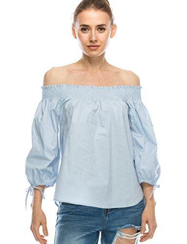 Nolabel Women's Off The Shoulder Smocked Neckline 3/4 Sleeve Knot Blouse Top Azure - Top Neckline Knot