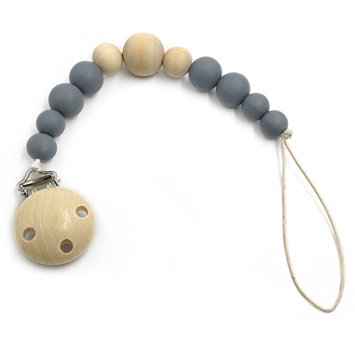 Amyster Natural Silicone/Wooden Beads Wooden Pacifier Clip Newborn Baby Soother Chew Pacifier Chain DIY Baby Teething Grasping Toy (Gray)