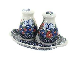Polish Pottery Garden Butterfly Salt & Pepper Shakers
