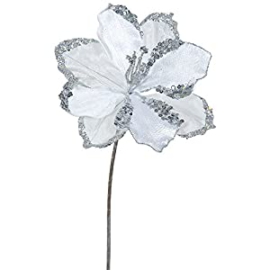 "Pack of 3 Silver Amaryllis Flowers with Glitter and Sequins Artificial Floral Stems 20"" 110"