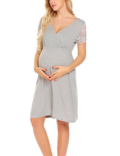 MAXMODA Women's Maternity Lingerie Home Clothes for Pregnant Breastfeeding Hospital Gown (Gray, ()
