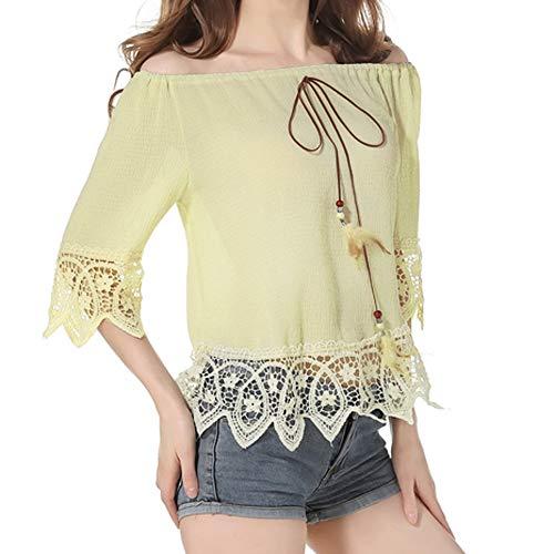 ANJUNIE Women Chiffon Cold Shoulder Blouse Solid Half Sleeve Floral Border Slash Neck Top(Yellow,XXL)