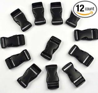 KLOUD City 12 pcs black plastic 1-inch (25mm) flat side release buckles KCRA-0329