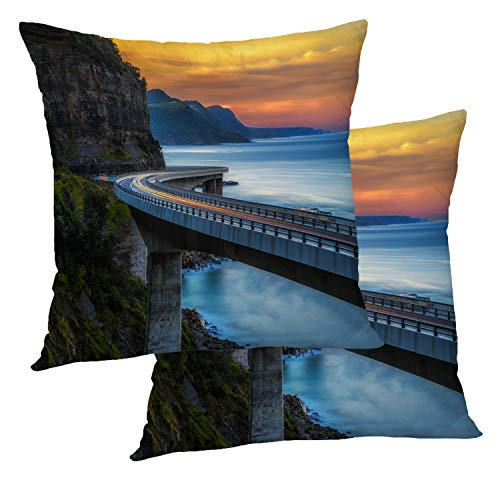 BaoNews Ocean Pillow Covers, Sunset Over The Sea Cliff Bridge Along Australian Throw Pillow Cover 18X18 Inch Cotton Square Cushion Decorative Pillow Case for Sofa Bed (Furniture Nsw Sydney Outdoor)